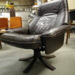 Vintage Scandinavian Brown Leather Reclining Swivel Chair £295 SOLD