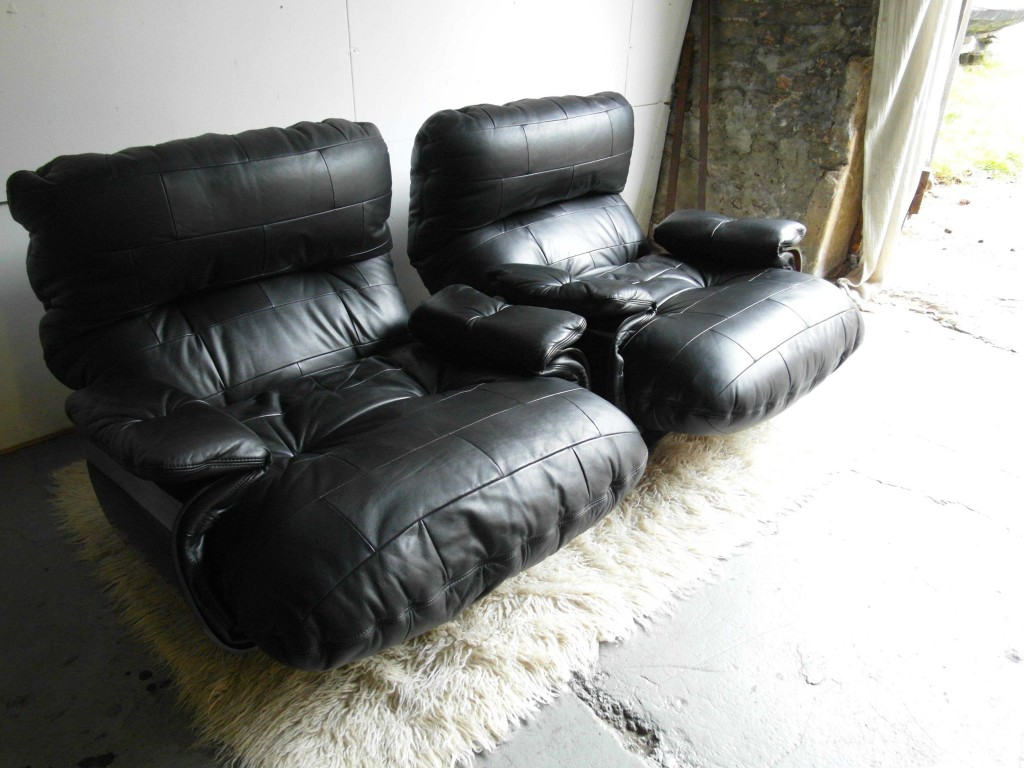 LIGNE ROSET Marsala Leather Armchairs by Michel Ducaroy  Mint £1185 SOLD