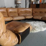 SOLD Rare 1970s Ligne Roset Modualr Suite in Tan Hide on Perspex Base by Michel Ducaroy £3500