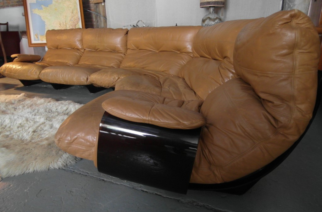 SOLD Rare 1970's Ligne Roset Modular Suite in Tan Hide on Perspex Base by Michel Ducaroy £3500