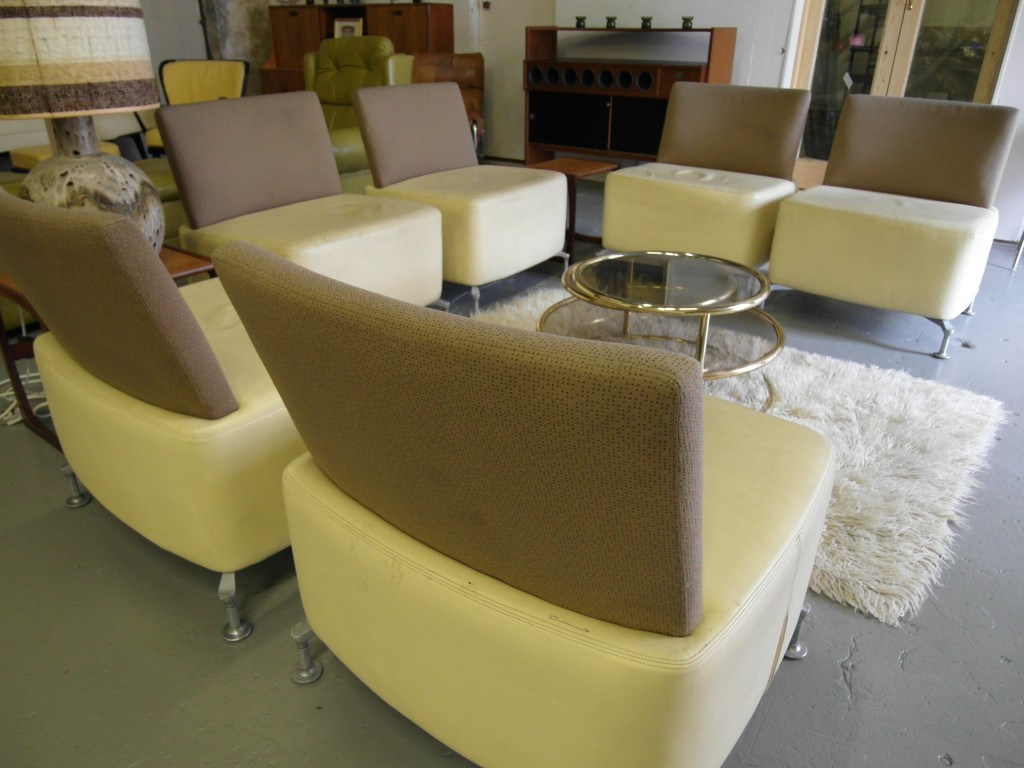 "Orange Box Design ""Path "" Modular Chairs in Cream Leather £250 each"