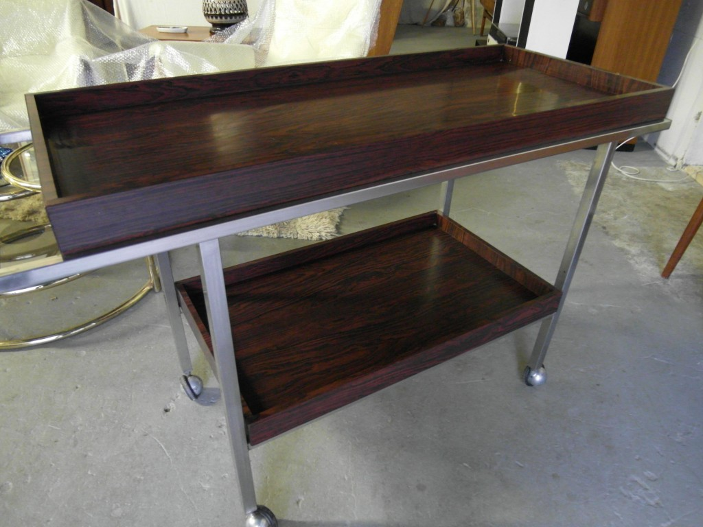 Danish Stainless Steel and Rosewood Formica Drinks Trolley £125