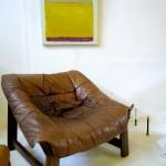Vintage Danish bucket chair in cognac calf leather SOLD