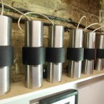 Classic 1970's Chrome Danish Hanging Lights. Set of Ten with Powered Track £695 SOLD