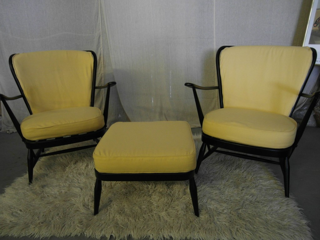 Matching Pair Of Ercol Windsor Armchairs and Footstool In Black and Lemon £395