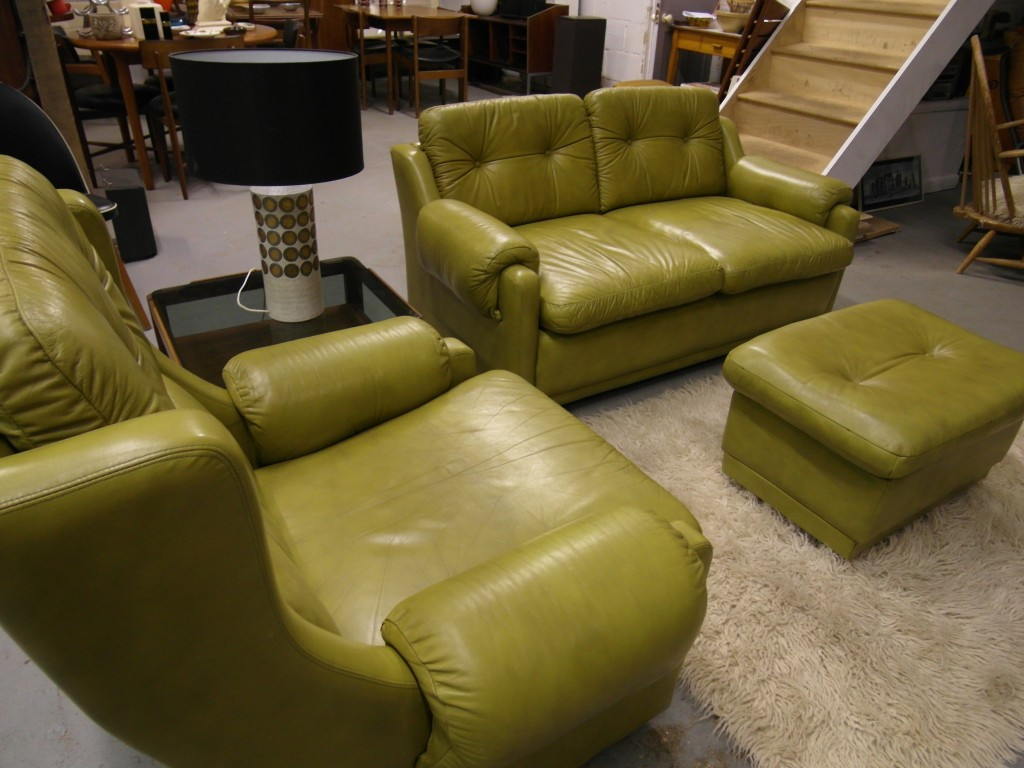 Gimson and Slater Suite in Olive Saddle Leather £895 SOLD