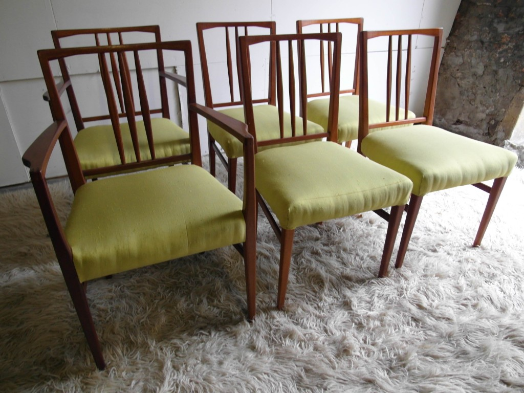 Six Vintage Gordon Russell Chairs In Teak and Lime Silk With Two Carvers £695
