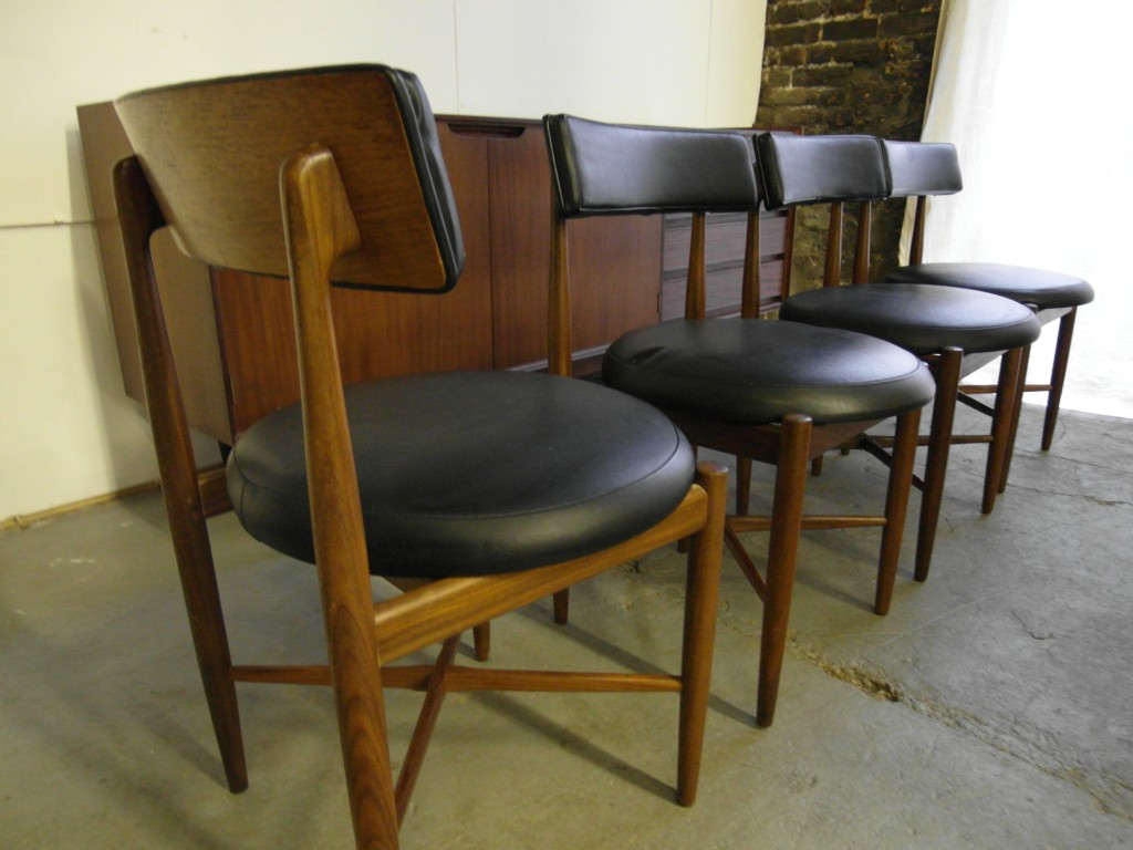 The retrobarn set of four kofod larsen dining chairs for for G plan dining room chairs