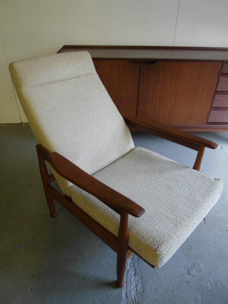 "Vintage Guy Rogers ""Manhatten"" Reclining Armchair in Laura Ashley Cream Twill £195 SOLD"