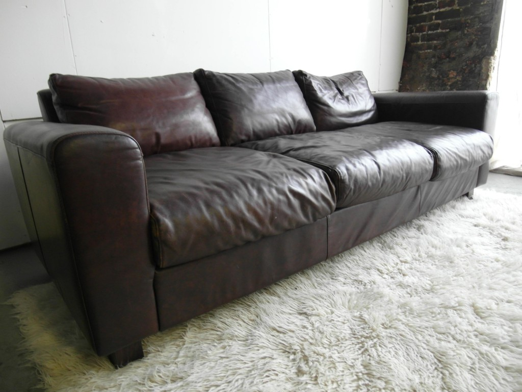 Huge Vintage Conran Leather Sofa For Habitat £795 SOLD