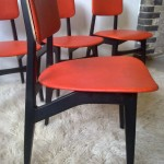Set of Four HJ Berry Dining Chairs in Original Orange Vinyl £195 SOLD