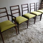Six Richard Hornby Chairs in Afromosia and Lime Silk With Carver £495