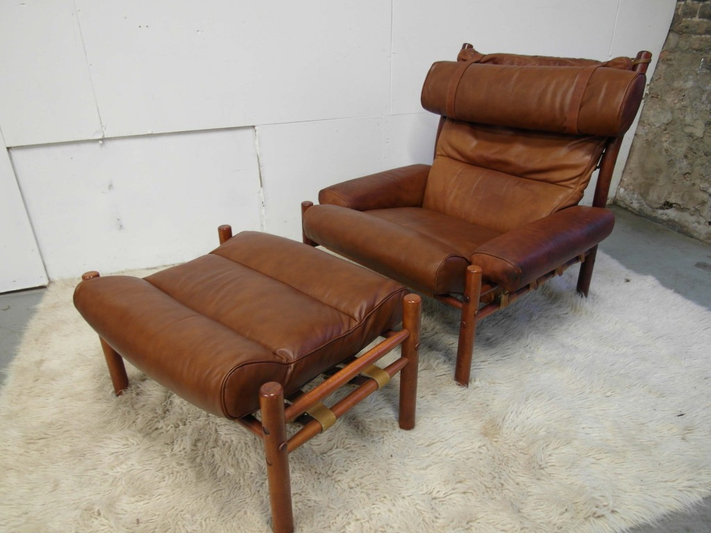 "Vintage ""Inca"" Chair & Ottoman By Arne Norell in Cognac Leather & Rosewood £1695 SOLD"