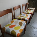 Four Vintage Moller Style Danish Dining Chairs in Orla kiely Multi Stem fabric £295SOLD