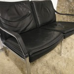 Walter Knoll Sofa in Black Calf Leather and Brushed Steel £395 SOLD