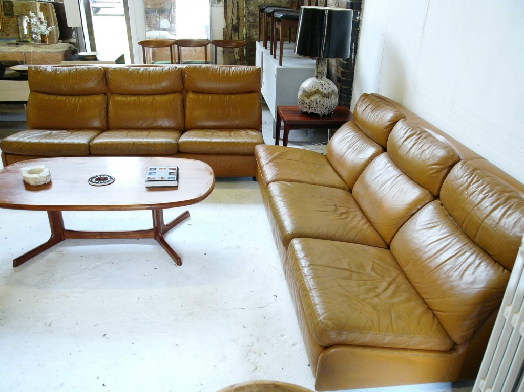 "Matching pair of 1970's Leolux ""Italiander"" 3 seat sofas in tan leather SOLD"