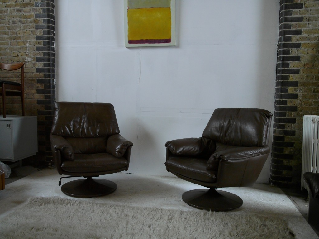 Vintage Leolux Swivel Chairs in Brown Calf leather £395 Each SOLD