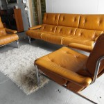 1970's Pieff Suite in Chrome and Cognac Leather Hide £1150SOLD