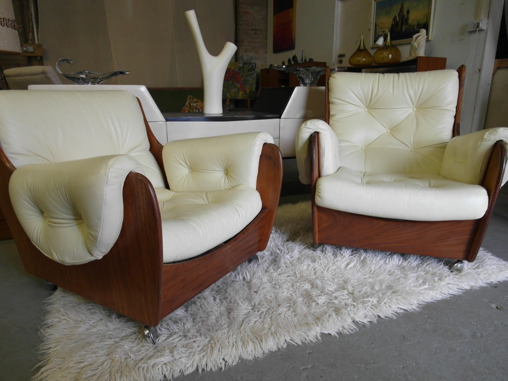 Matching pair of G Plan Saddle Back Armchairs in Italian Cream Leather £595 SOLD