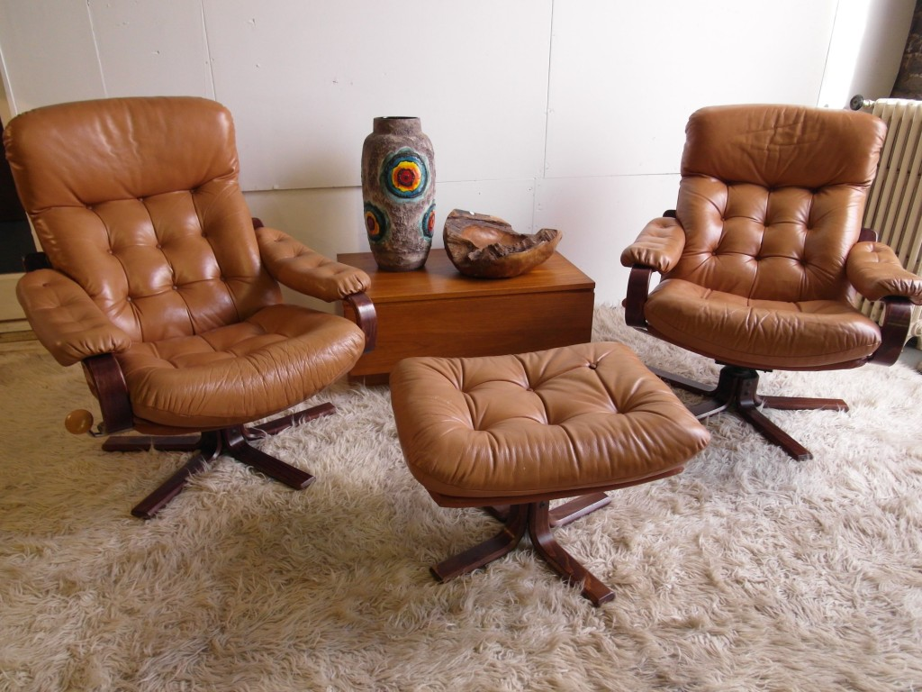 Matching Pair of Vintage Danish Leather & Rosewood Swivel Chairs £450SOLD