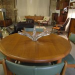 Vintage Solid Teak Danish Dining Table and Four Matching Chairs in Green Leather £395
