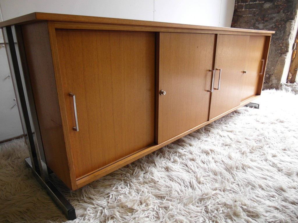 Vintage Danish Teak and Chrome Slide Door Credenza £495