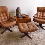 Matching Pair of Vintage Danish Leather and Rosewood Swivel Chairs £595 SOLD