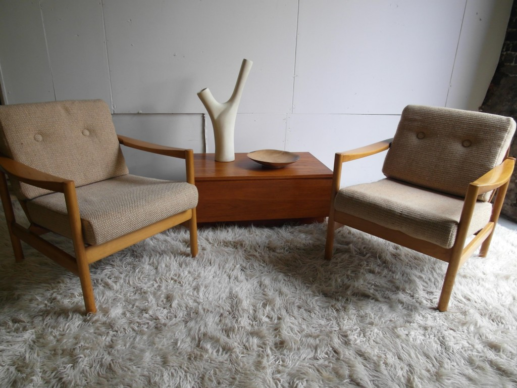 Matching Pair of Danish Beech Easy Chairs in Bute Wool Fabric £495 SOLD