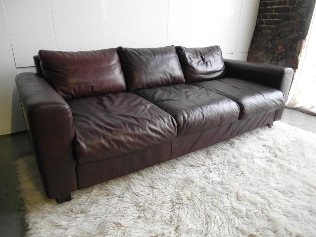 Huge Vintage Conran Leather Sofa For Habitat £715 SOLD
