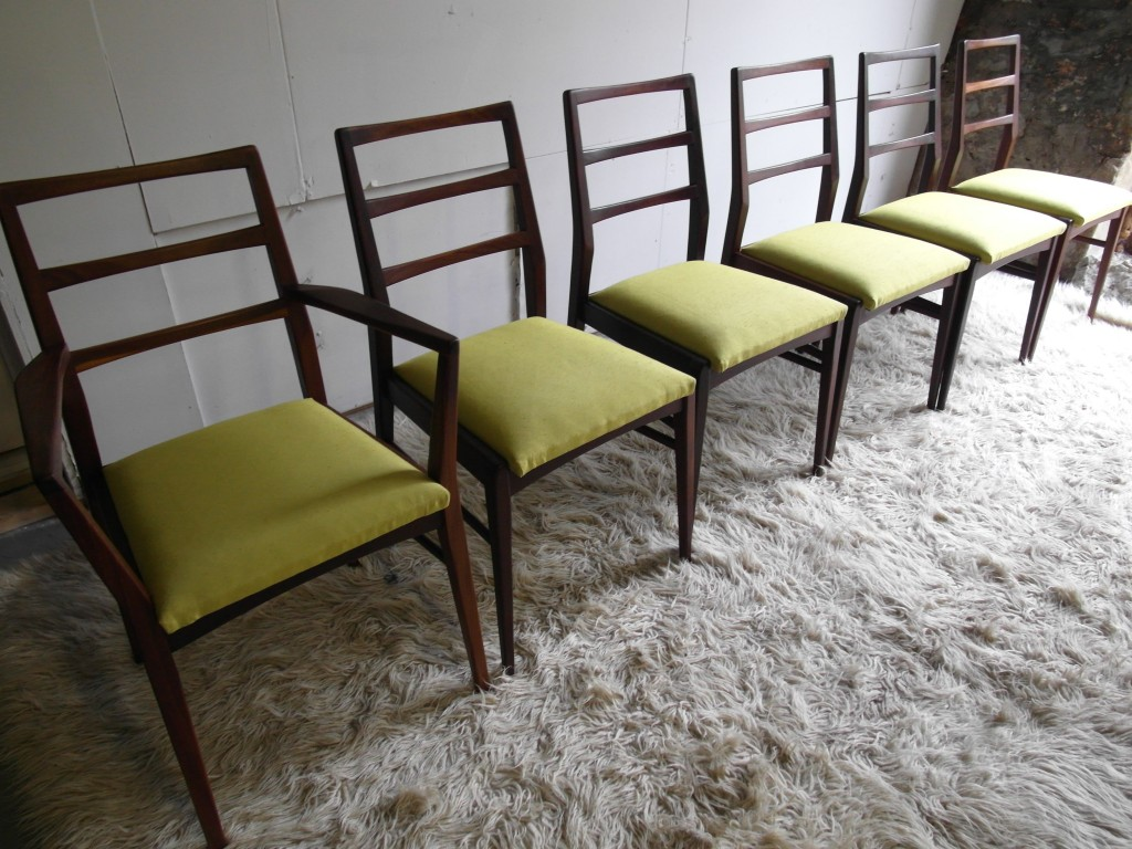 Six Richard Hornby Chairs in Afromosia and Lime Silk With Carver £495 SOLD