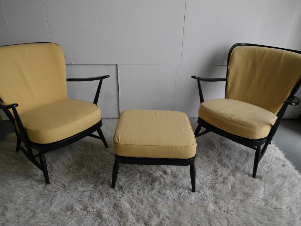 Ercol Windsor Chair set with Footstool in Black and Lemon £395 SOLD