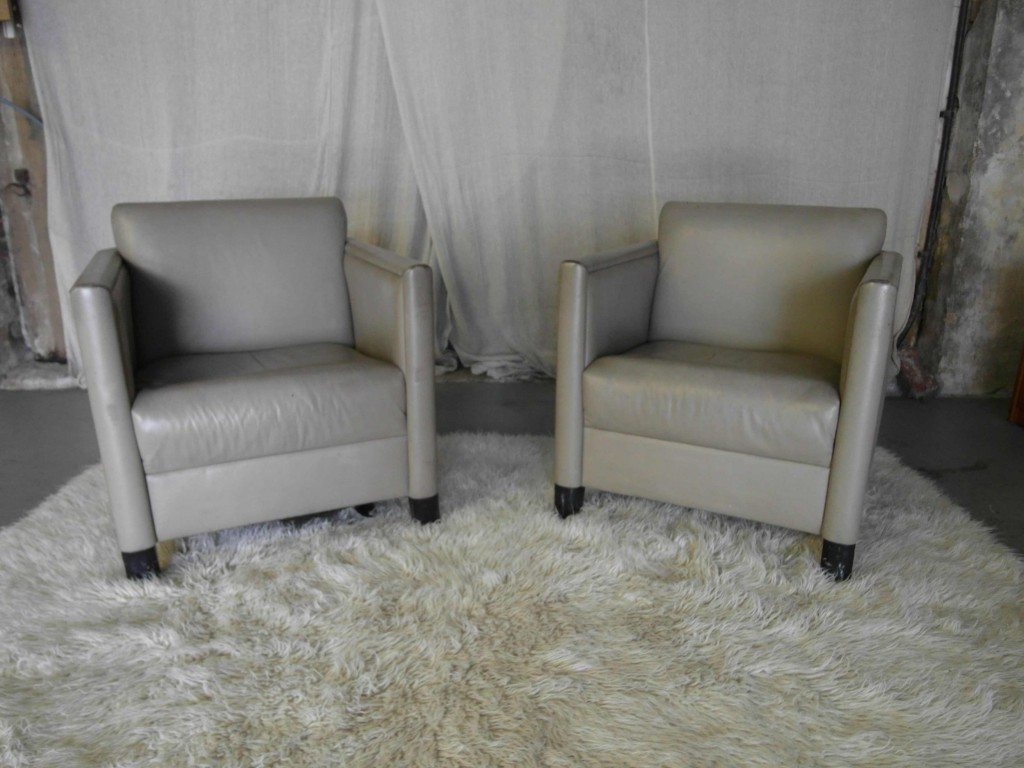 Vintage 1950s Grey Leather Club Chairs £450
