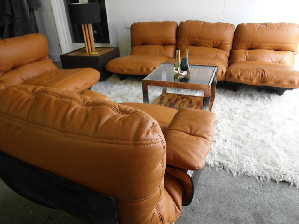 "Rare Michel Ducaroy  Modular Suite for Ligne Roset . ""As New"" in Cognac Neck Leather £3999 SOLD"