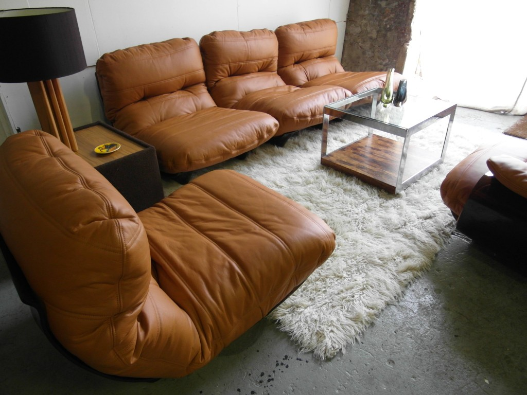 "Rare Michel Ducaroy  Modular Suite for Ligne Roset . ""As New"" in Cognac Neck Leather £3999SOLD"