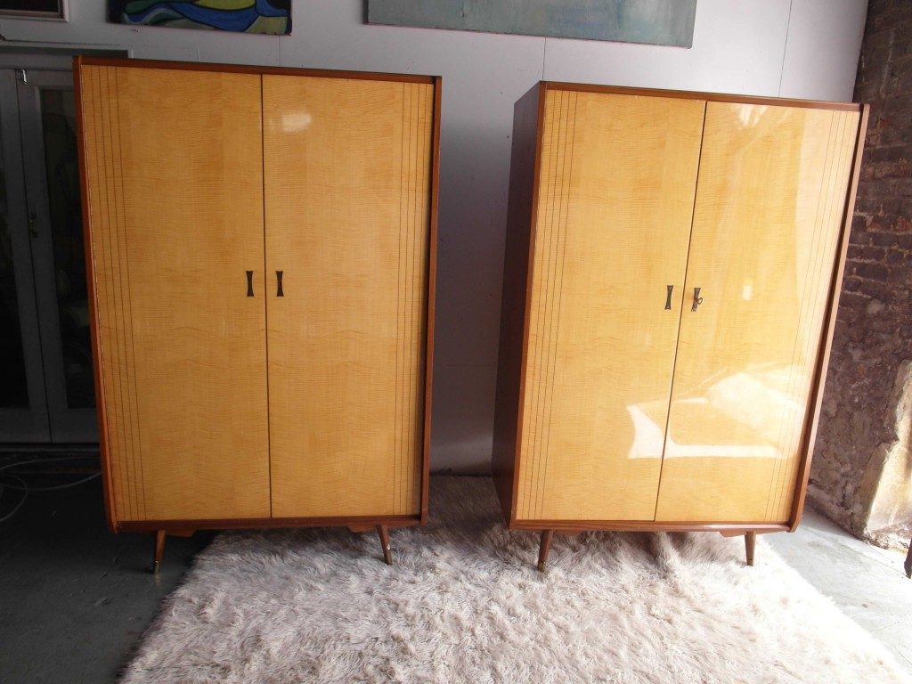 1950's Italian Wardrobes in Lacquered Marino Maple and Sycamore £895 Each