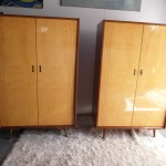 1950's Italian Wardrobes in Lacquered Marino Maple and Sycamore £895 Each SOLD