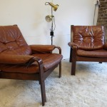 Matching Pair Of Danish Rosewood and Leather Armchairs £475 SOLD