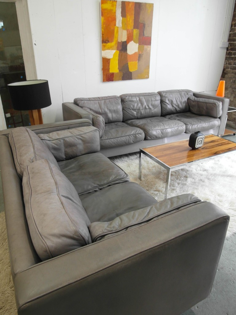 Vintage Pair of Danish Leather Sofas with Down Filled Cushions £920 SOLD