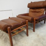 Stunning Vintage Arne Norell Inka Chair and Ottoman in Cognac Leather & Rosewood £1695SOLD