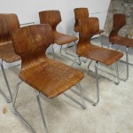Six Vintage Flototo Pressed Ply & Chrome Chairs £220 SOLD