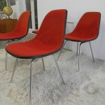 Vintage Herman Miller Fibreglass Eames Shell Chairs with Original Covers. £375 SOLD