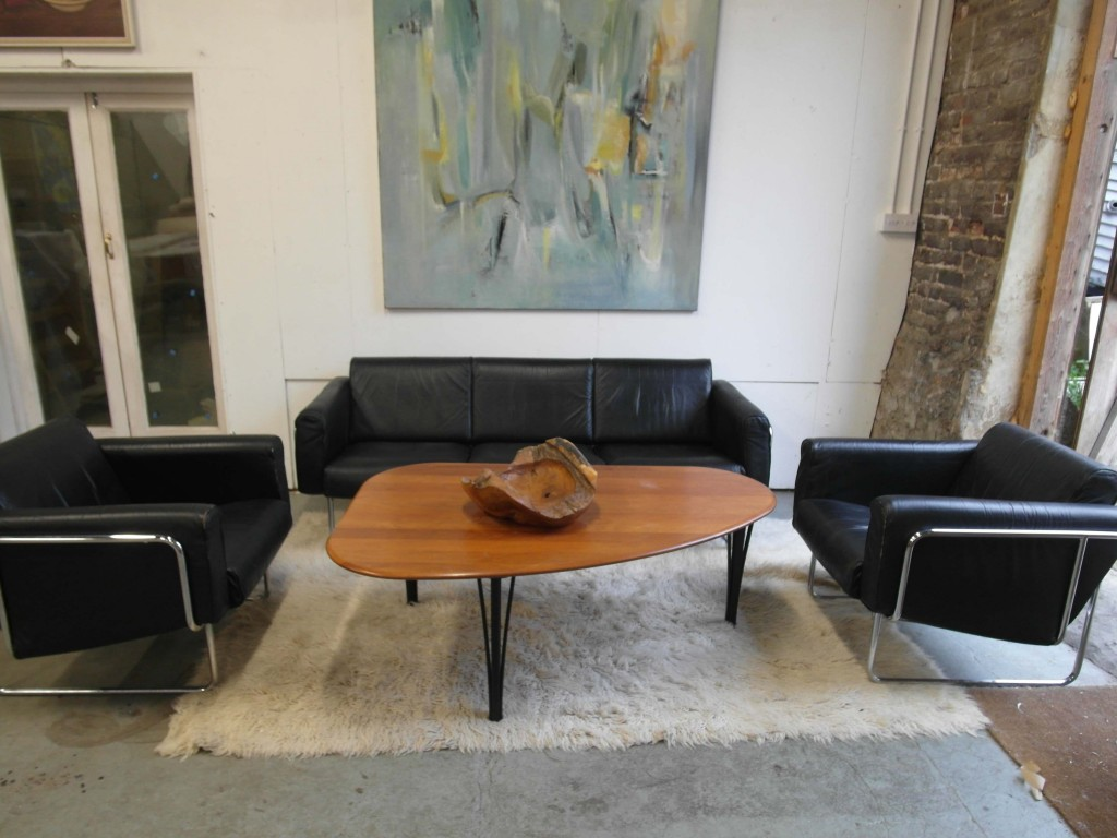 Vintage Danish Leather & Chrome Suite with Sofa and Two Armchairs £1100 SOLD