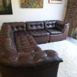 "Vintage Danish Modular Sofa in 'Havana "" Neck Leather £1900"