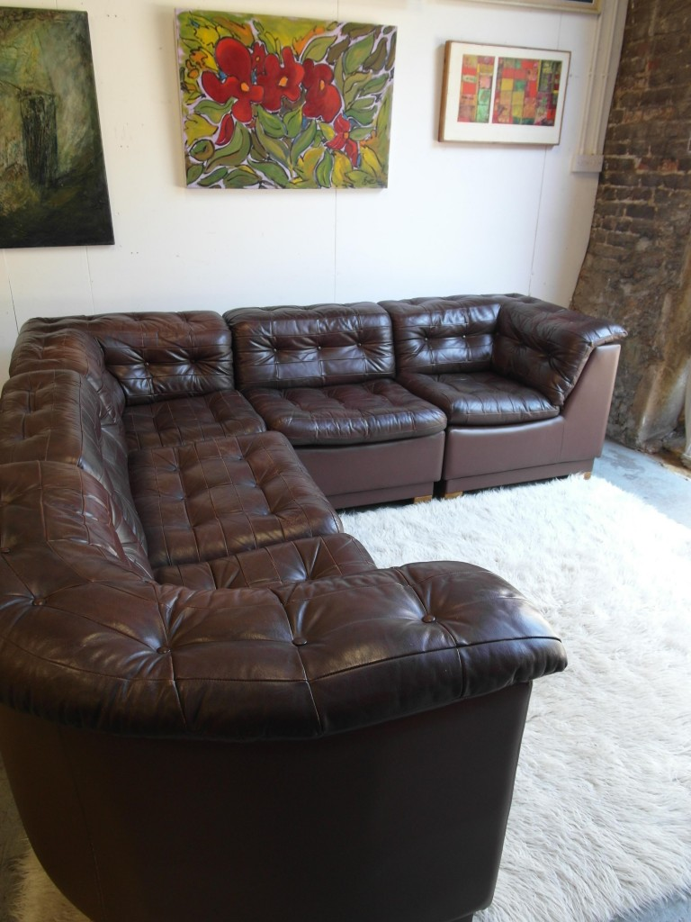 "Vintage Danish Modular Sofa in 'Havana "" Neck Leather £2995"