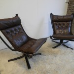 Matching pair of Vintage Falcon Chairs In Leather and Rosewood  £1175