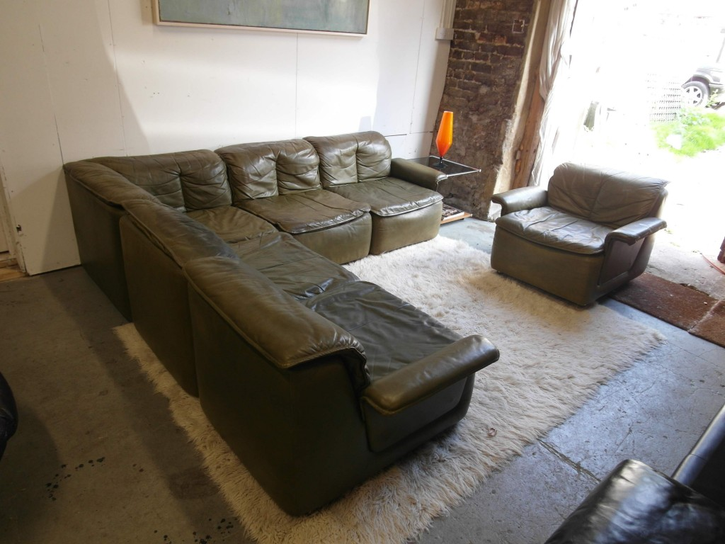 Vintage Danish Six Piece Modular Sofa in Olive Green Leather £900SOLD