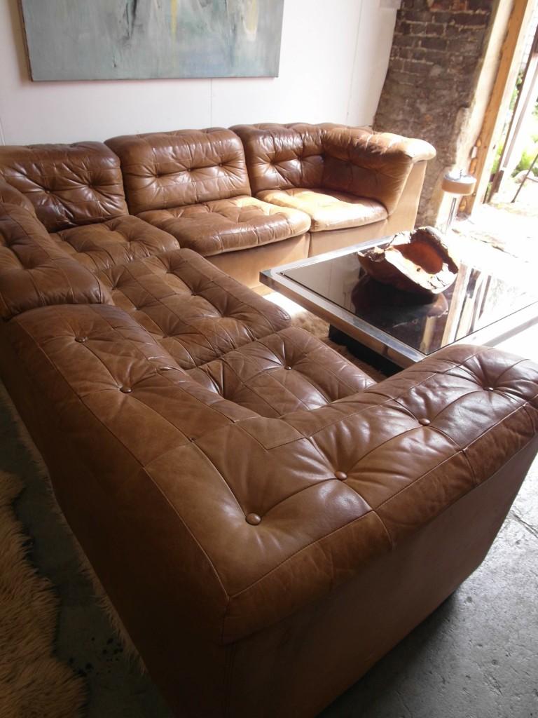 Outstanding The Retrobarn Vintage Danish Modular Sofa In Tan Patchwork Home Interior And Landscaping Sapresignezvosmurscom