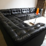 Vintage Danish Modular Sofa in Black Patchwork Leather £2995