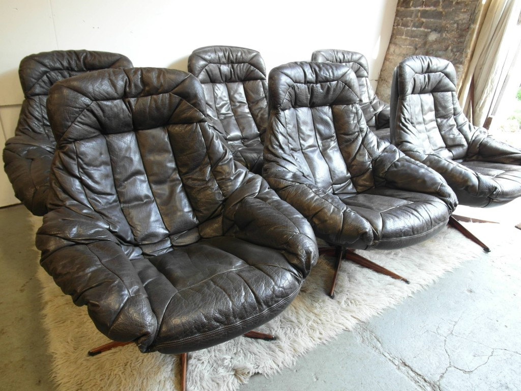 Vintage Bramin Swivel Chairs in Buffalo Leather & Rosewood £295 Each