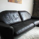 "Vintage De Sede DS36 Three Seater Sofa in Black "" Neck"" Leather £1195"